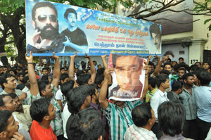 Fans express their ire at ban on Kamal Haasan's film