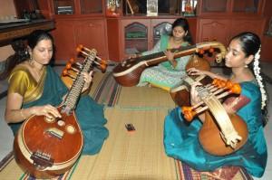 guru kumutha(veena) with new students,at Brhaddhvani ,east abhiramapuram,3rd st ,vijayadasmi day on 14-10-13
