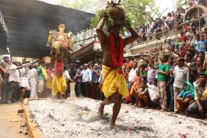 Fire walk at Nagathamman temple