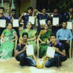 Boys of Savitri Ammal School bag 2nd place in throwball tournament