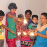 Groups gather to celebrate the festival of lights..
