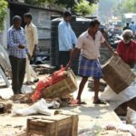 Corporation team clears pavements of South Mada Street of hawkers' belongings