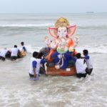 Immersion of images of lord Ganesha takes place on Sunday afternoon
