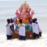 Idols of Lord Vinayaka immersed at the beach on Sunday evening