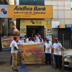 Andhra Bank's R. A. Puram branch staff do a bit of clean-up