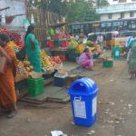 Some hawkers of North Mada Street set up waste bins to keep their area clean