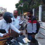 Traffic police starts imposing fine on helmetless pillion riders at Kamarajar Salai