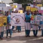 Girls of St. Anthony's School take out a rally on water conservation