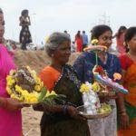 People start immersing idols of Vinayaka in sea