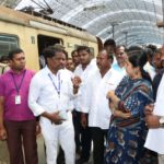 Chennai South MP goes around Thirumylai rail station