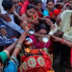 Hundreds take part in Chhath puja on Marina on Sunday