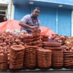 Earthen lamps on sale on mada streets