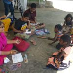 Children join artists at Sunday sketching session in Marina kuppam