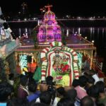 Hundreds gather at tank to witness day one of teppam of Sri Kapali Temple