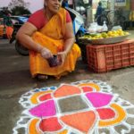 This hawker draws unique kolams every day