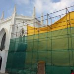 Section of San Thome cathedral being repaired, restored