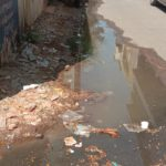 Sewage overflows on streets around church on Lazarus Church Road; residents say this is recurring