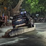 BMW car runs over median on C P Ramaswamy Road