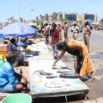 Police women take charge at fish market at Pattinapakkam, regulate shoppers