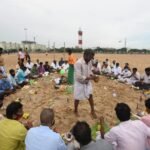 People perform amavasya rituals on Marina beach