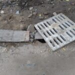 Drain laid but civic work incomplete. In R. A. Puram.
