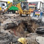 Section of R. K. Mutt Road caves in following heavy rain