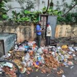 In Abiramapuram, many residents continue to dump garbage at street corners despite advice to hand it to Urbaser staff