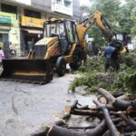 Cyclonic weather: water-logging in some areas, civic staff respond to SOS needs