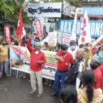 Communist party cadres stage protest in support of farmers