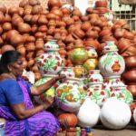 Pots for Pongal on sale at Mandaveli market