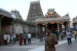 Police in temple