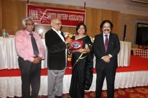 Latha krishna with Dr Chimdabaram during the award function