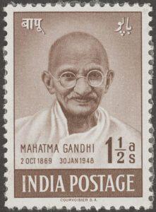 A vintage stamp on Gandhi